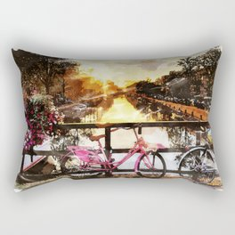 AMSTERDAM, Netherlands Watercolor Landscape Fine Art Rectangular Pillow