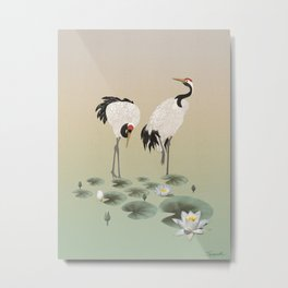 Water Lilies and Cranes Metal Print