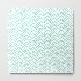 Seafoam Blue Japanese wave pattern Metal Print