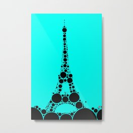 "Eiffel Tower Light Blue Background - from ""Further Back"" series Metal Print"