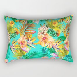 Vintage Hawaiian Tropical Island-Style Colorful Floral Pattern Rectangular Pillow