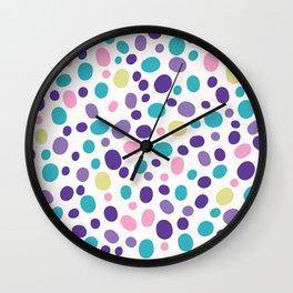 Bright Pebble Polka Dot Allover Hand Drawn Wall Clock