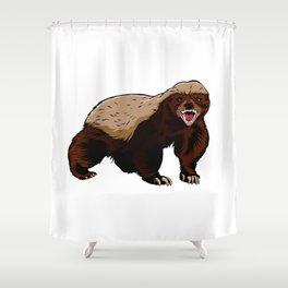 Honey badger illustration Shower Curtain