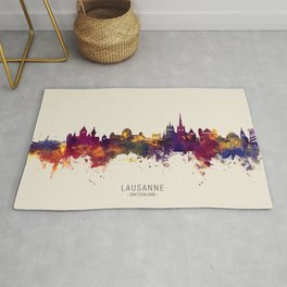 Lausanne Switzerland Skyline Rug