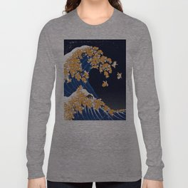 Shiba Inu The Great Wave in Night Langarmshirt