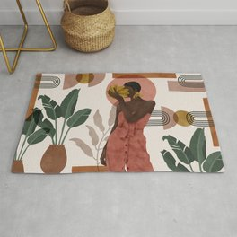 Woman with succulent bananas Rug