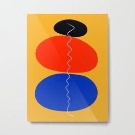 Zen minimal abstract art yellow blue red black Metal Print