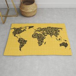 Yellow world map Rug