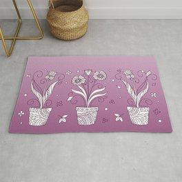 violet contour three zen pots with doodle flowers Rug