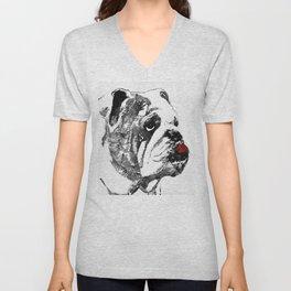 Bulldog Pop Art - How Bout A Kiss 2 - By Sharon Cummings Unisex V-Neck