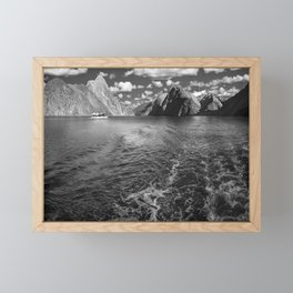 A boat ride in the morning at Milford Sound in black and white Framed Mini Art Print
