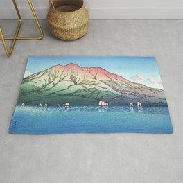 Ships In Sakurajima, Kagoshima By Kawase Hasui - Antique Japanese Woodblock Print Art Rug
