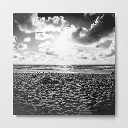Lovely Sunset at the Sea | Beach Sunset | Dutch Coast | Callantsoog, The Netherlands | Black & White Metal Print
