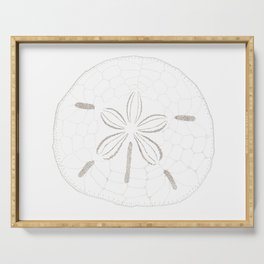 Sand Dollar Dreams - Brown on White Serving Tray