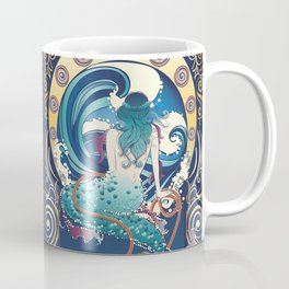 Blue Mermaid with anchor art nouveau design Coffee Mug