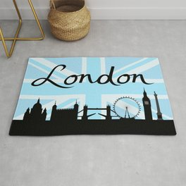 London Script on Union Jack Sky & Sites Rug