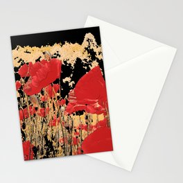Red poppy field in the mountain, altered nature photo, adorable poppies, flower image, botanic print Stationery Cards