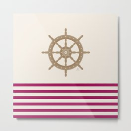 AFE Gold Nautical Helm Wheel Metal Print