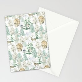 Woodland Friends In Winter Snow Forest Stationery Cards