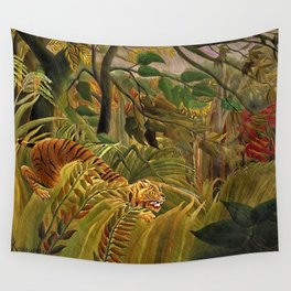 Tiger in a Tropical Storm - Surprised! by Henri Rousseau Wall Tapestry