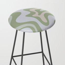 Liquid Swirl Contemporary Abstract Pattern in Light Sage Green Bar Stool