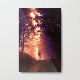 Blurred man in the woods Metal Print