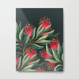 Pohutukawa - Red / Natural Green Metal Print