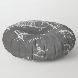 Soccer Patent - Soccer Goal Art - Black Chalkboard Floor Pillow