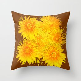 ABSTRACTED COFFEE BROWN   FIRST SPRING YELLOW DANDELIONS Throw Pillow