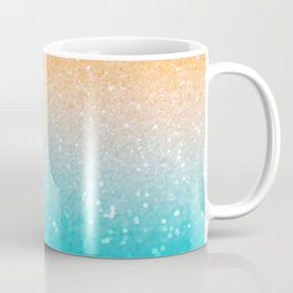 Glitter Teal Gold Coral Sparkle Ombre Coffee Mug