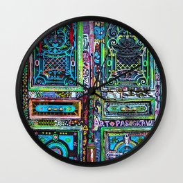 French Painted Colorful Paris Doorway Photograph Wall Clock
