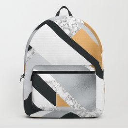 Abstract Geo (Black, White, Gold, Silver & Marble) Backpack
