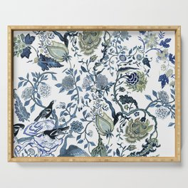 Blue vintage chinoiserie flora Serving Tray