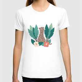 trendy tropical design with leopard, flowers and leaves T-shirt