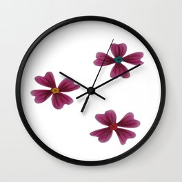pink flowers pattern Wall Clock