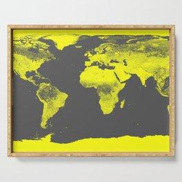 world map : Yellow & Gray Serving Tray