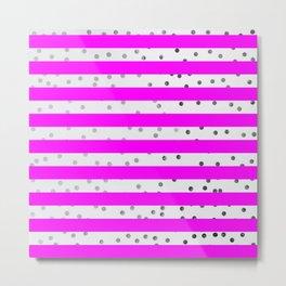Pink and white stripes Metal Print