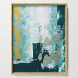 023.2: a vibrant abstract design in teal green and yellow by Alyssa Hamilton Art  Serving Tray