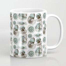 Ernst Haeckel Jellyfish Leptomedusae Cyan Brown Coffee Mug