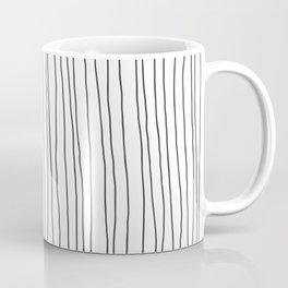 Hand Drawn Lines Vertical White Dark Gray Coffee Mug