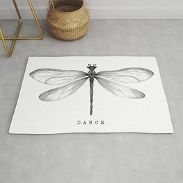 Dragonfly Dance | Black & White Rug