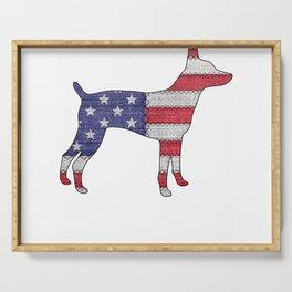 Patriotic TEDDY ROOSEVELT TERRIER American Flag Vintage Gift T-Shirt Serving Tray