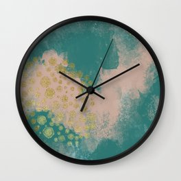 Daydreaming//Abstract decorate painting//gold, green, cream//flowy abstract painting//Emerald//Round Wall Clock