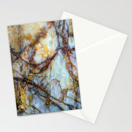 Natural turquoise and gold stone Stationery Cards