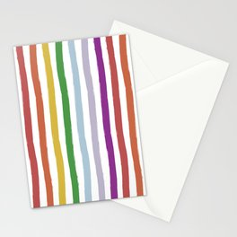 LGBTQ Rainbow Flag Cabana Stripes Stationery Cards
