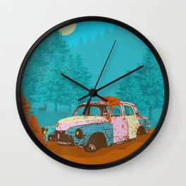 FOX & OLD RUSTY CAR Wall Clock