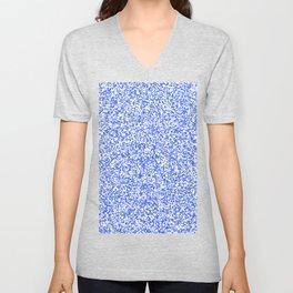 Tiny Spots - White and Royal Blue Unisex V-Neck
