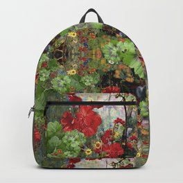 AWESOME ARTISTIC LEAFY  RED GERANIUMS Backpack