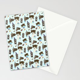 Dogs, party toys and toilet paper rolls pattern Stationery Cards
