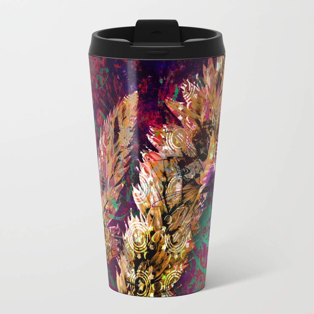 359 17 Gold Wheat Stalk On Pink And Aqua Travel Mug TRM8032644